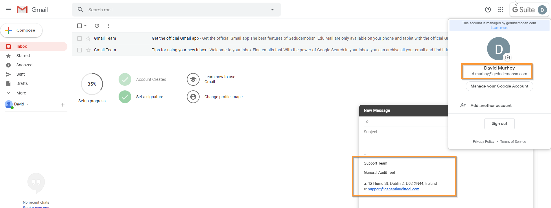 GAT Flow: Create an action set for Onboarding G Suite users 15