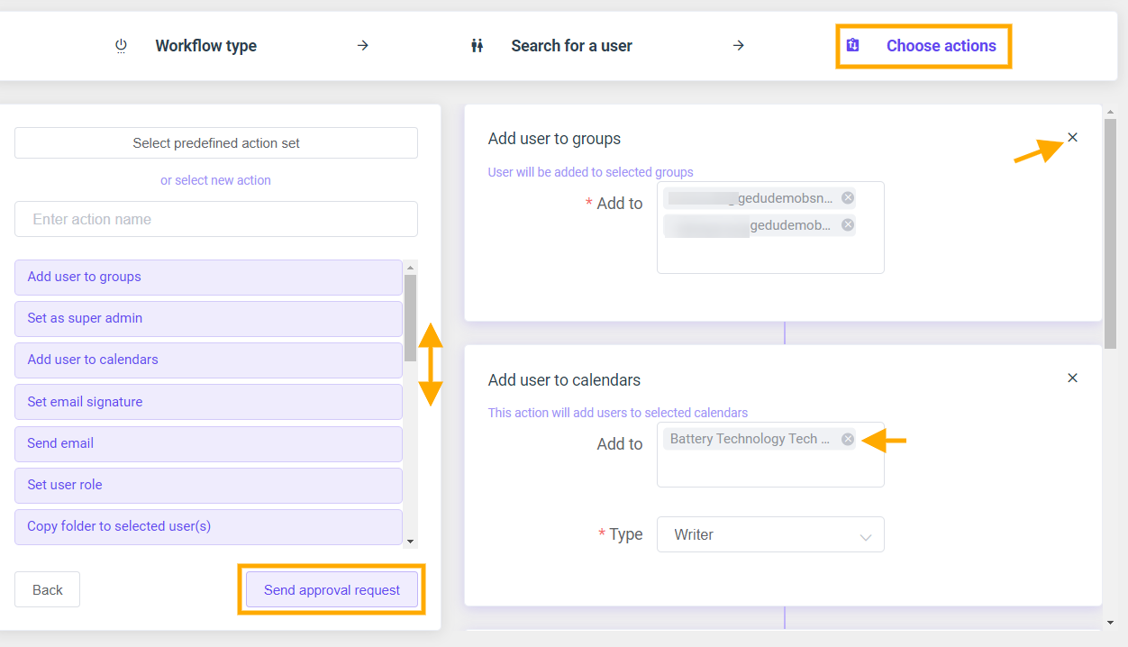 GAT Flow: Create an action set for Onboarding G Suite users 13