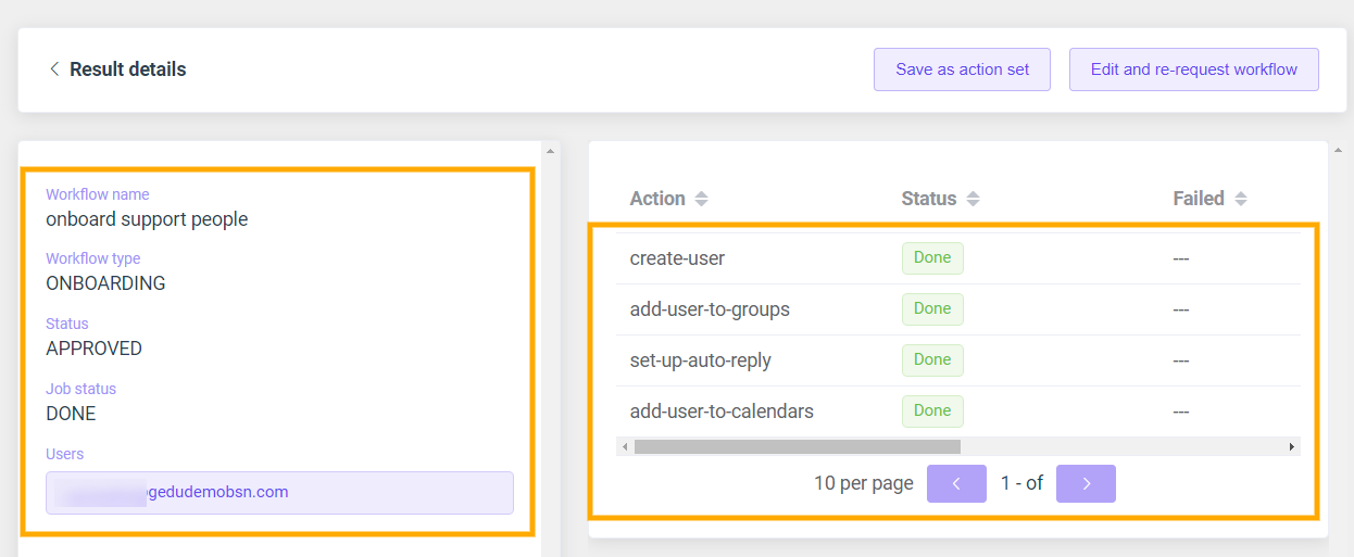 GAT Flow: Create an action set for Onboarding G Suite users 14