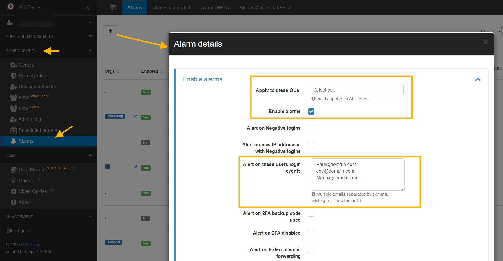 GAT+ Alarms [New Feature] Get Alerted when Users Log into Your Google Domain 1