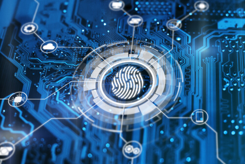 Fingerprint login authorization and cyber security concept. Blue integrated circuit with futuristic icons on background. Control access and authentication online.