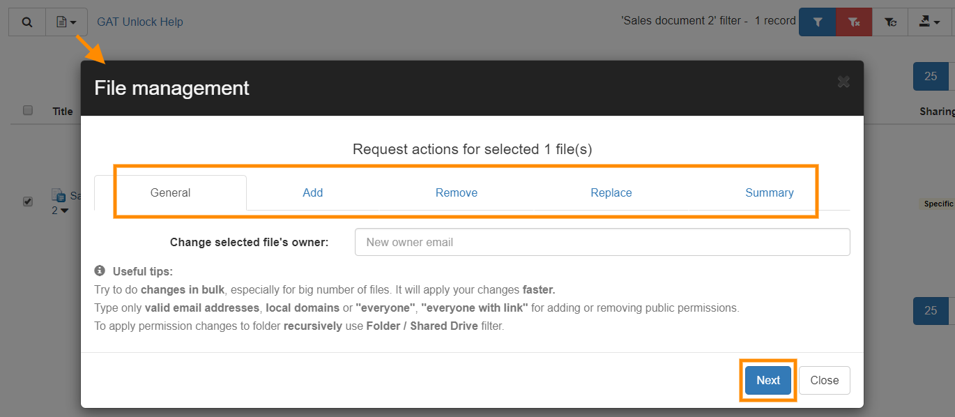 GAT+: Replace the current sharing permissions on your Google Drive files 4
