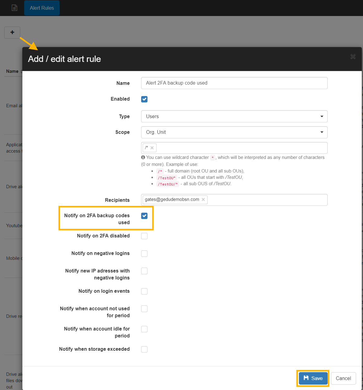 GAT+: Alert When 2FA Backup Code is Used by Any G Suite User 3