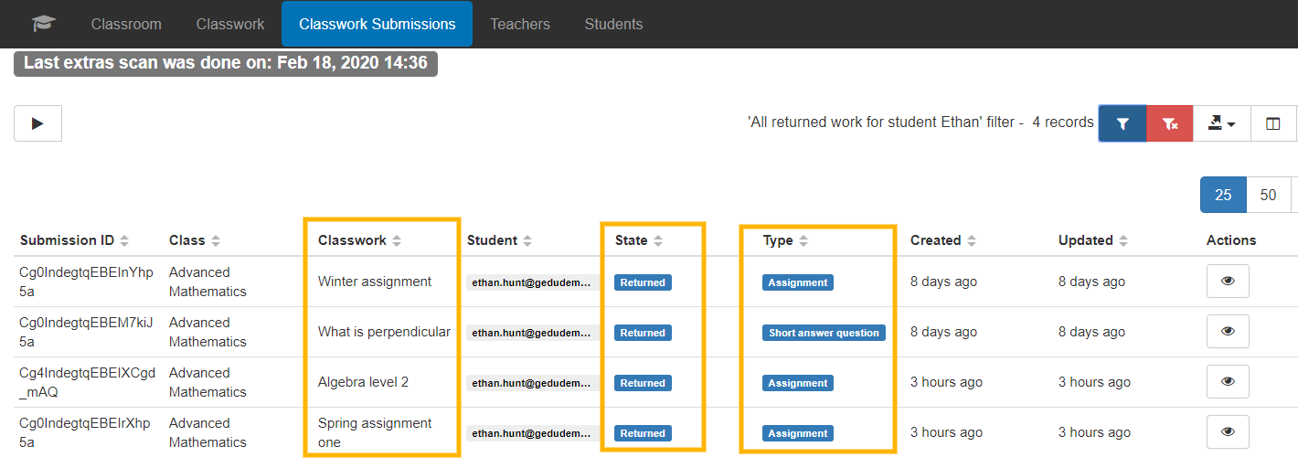 GAT+ | How to See Students' Returned Assignments in Google Classrooms? 4