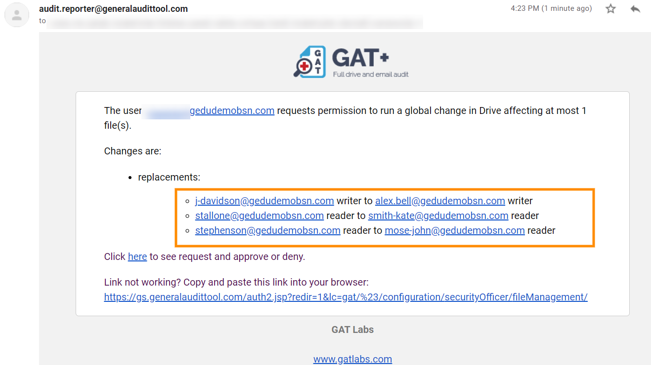 GAT+: Replace the current sharing permissions on your Google Drive files 7