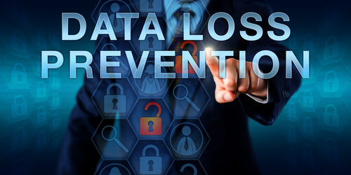 Administrator is pushing DATA LOSS PREVENTION (DLP) on an interactive virtual touch screen. Information technology concept and data security metaphor for detection and monitoring of data leaks.