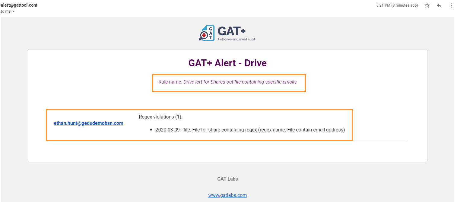 GAT+ | How to alert or remove Google Drive files that contain email addresses 5