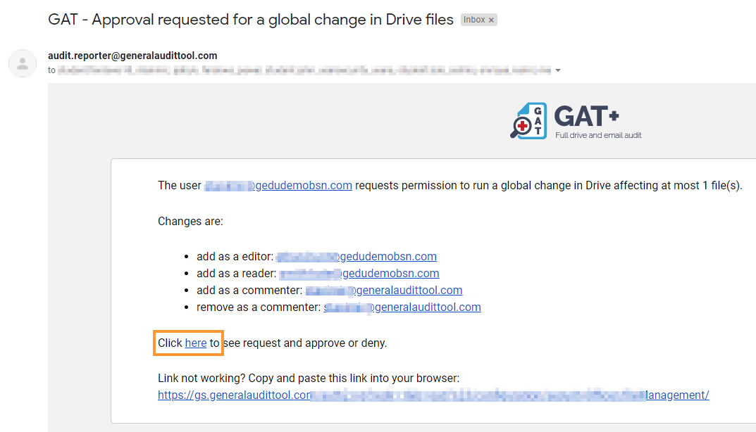 Management of Shared Drives directly in GAT+ 5