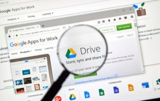 Google Drive web page. Google Drive is a file storage and synchronization service created by Google.