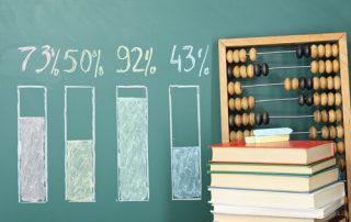 Education concept. Abacus? books and diagram on a blackboard.