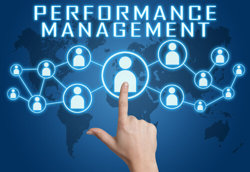 Performance Management concept with hand pressing social icons on blue world map background.