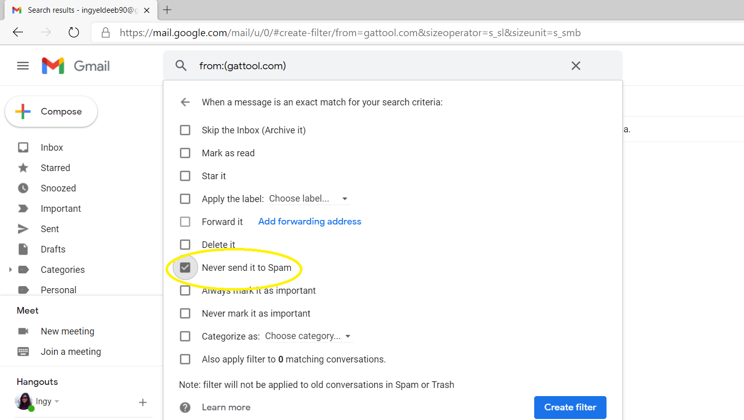 Whitelisting a domain in Gmail