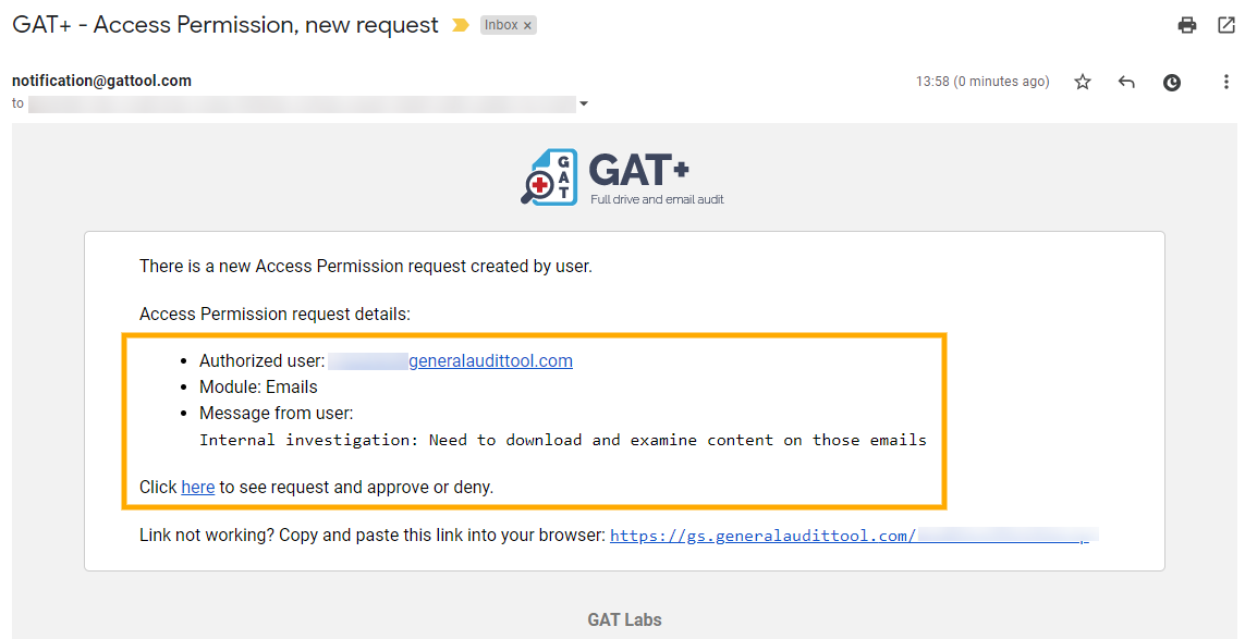 GAT+ Unlock | View or Download Email Contents 6