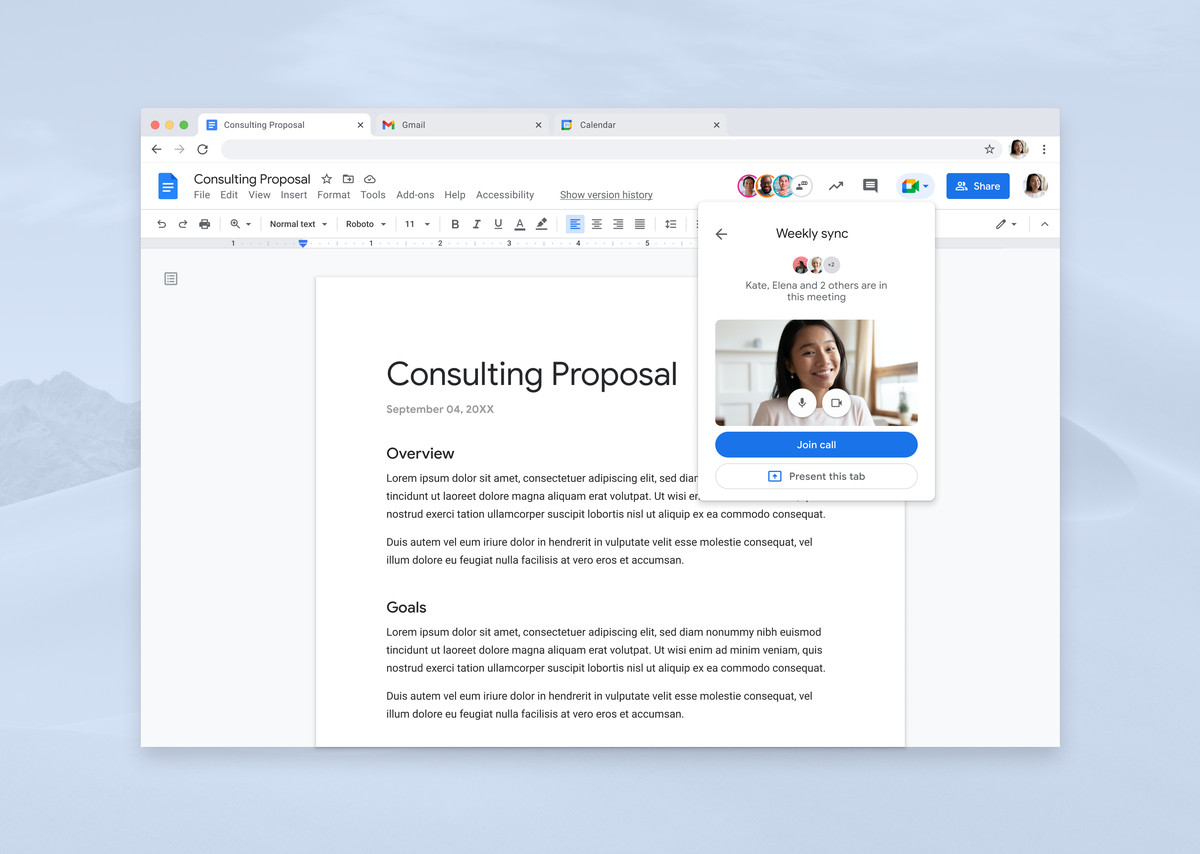 present to google meet from docs, sheets and slides