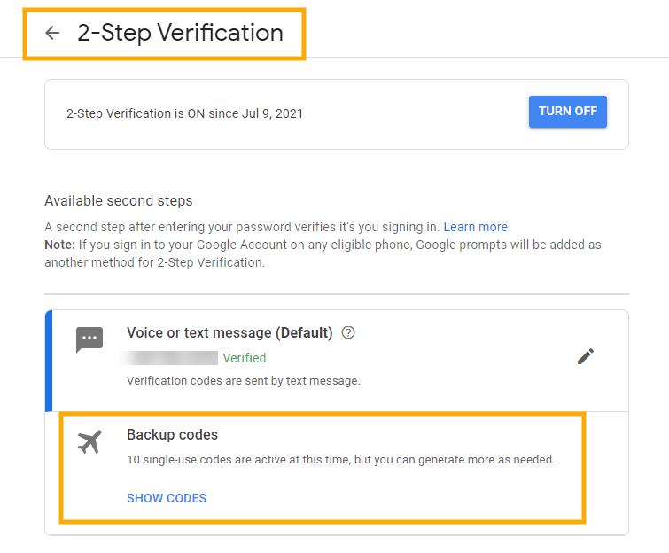 GAT Flow   Delete 2-step verification backup codes 8