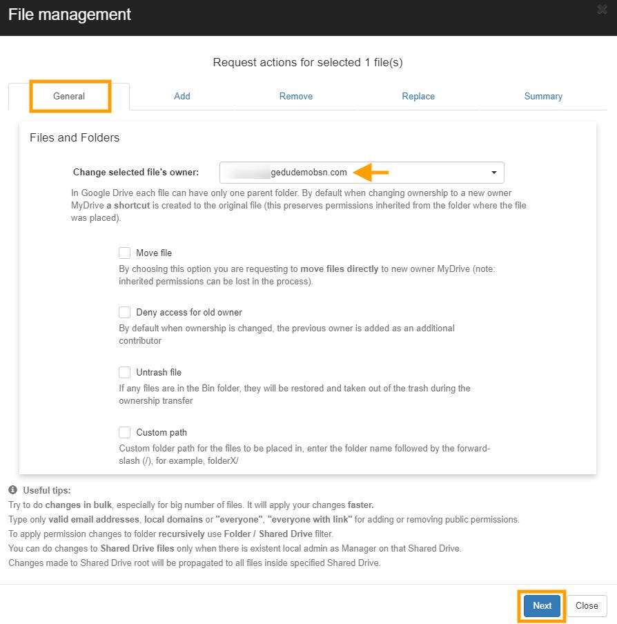 GAT+   File Management - Change File Ownership 2