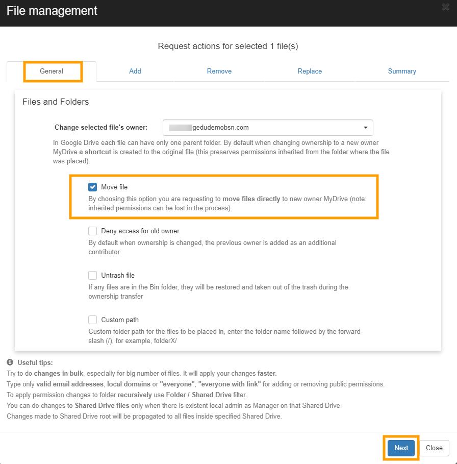 GAT+   File Management - Change File Ownership 6