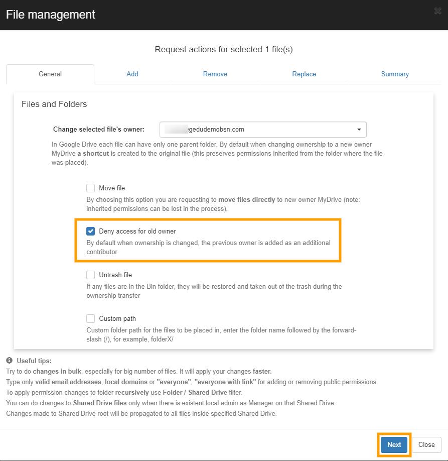GAT+   File Management - Change File Ownership 10