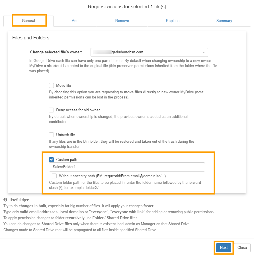 GAT+   File Management - Change File Ownership 11