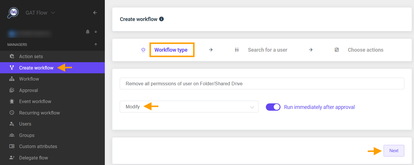 GAT Flow   Remove all permissions a user has from a Folder or Shared Drive 1
