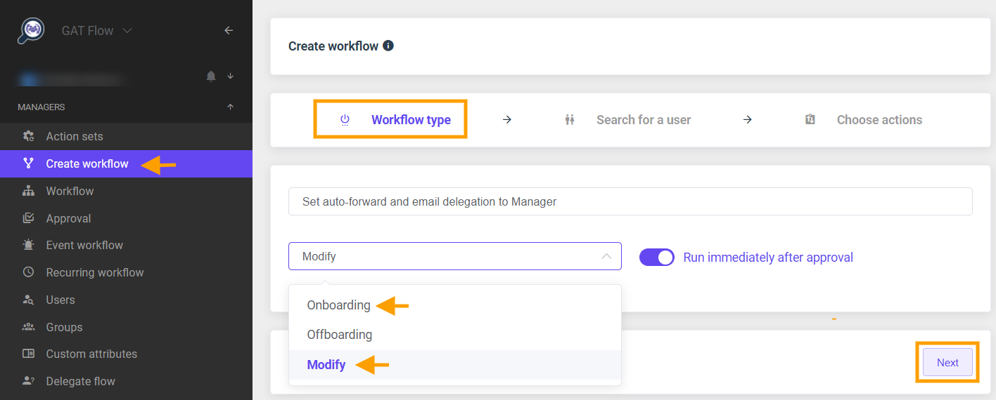 GAT Flow   Set email delegation and auto-forward to Manager 1