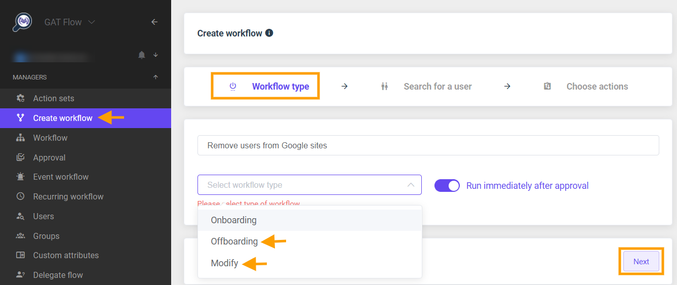 GAT Flow | Remove users from Google sites 1